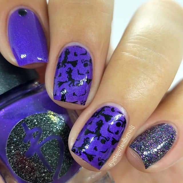 Playful Witchy Black and Purple Nail Art
