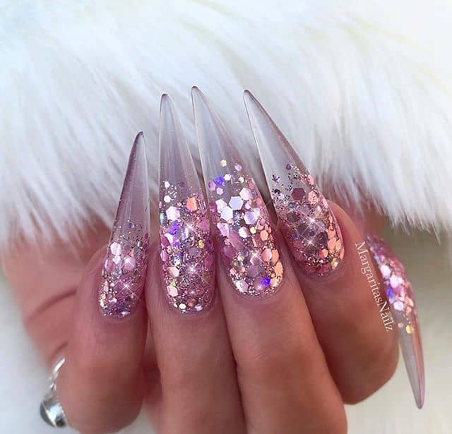 Long Crystal Stilettos with Pink Glitter