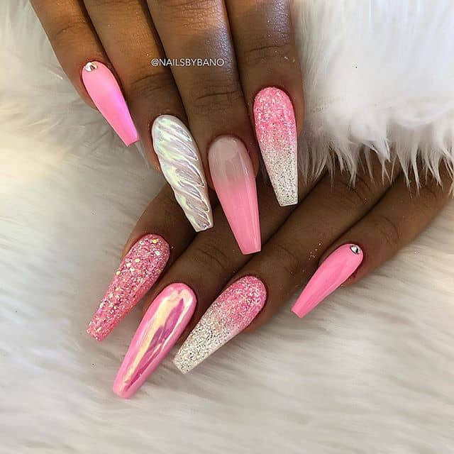 Pink Glitter Nails with Pearly Unicorn Horns
