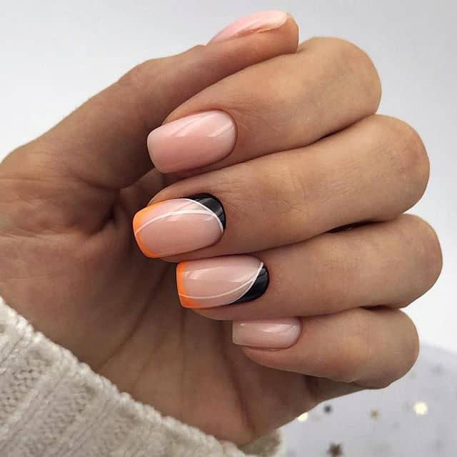 Natural Bush Pink Nails with a Dash of Orange and Black