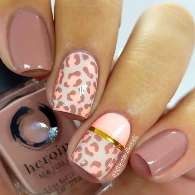 Pink and Nude Leopard Print Nail Art