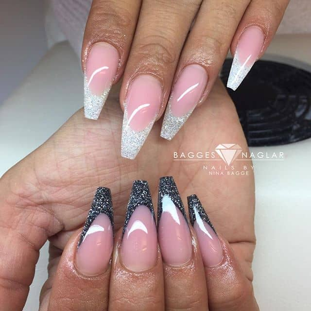 Sparkling Black and White Tips