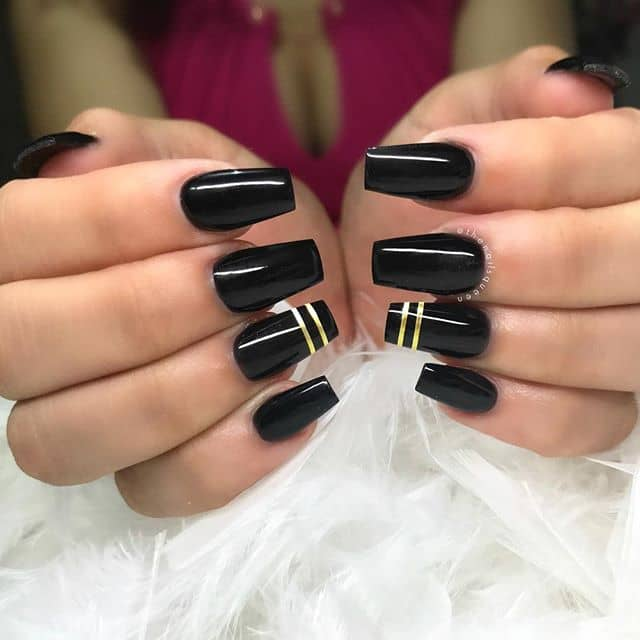 Glossy Black Nails With Stunning Gold Bands