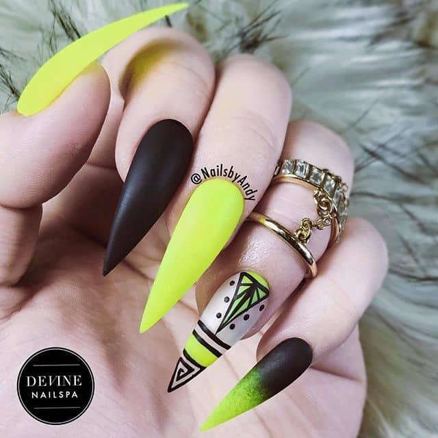 Artsy Matte Black and Yellow Stiletto Nails