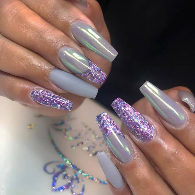 Multi-Textured and Colored Purple Nail Ideas