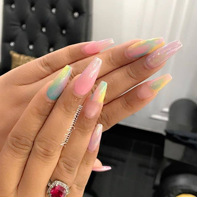 Pastel Milk Glass Stiletto Nails