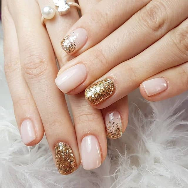Simply Chic Natural Nails with Gold Glitter Accents