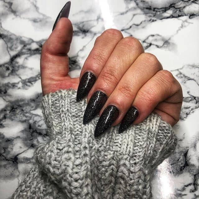 Black Stilettos with Sexy Silver Sparkles