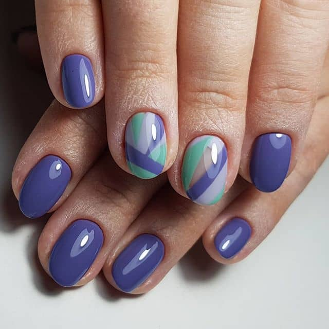 Cornflower Simple Nails with a Geometric Accent