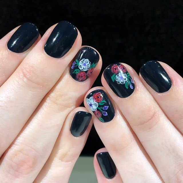 Navy Blue Polish with Delicate Floral Nail Art