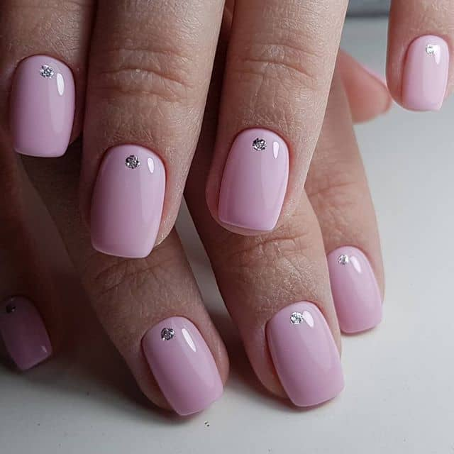 Pretty in Pink Diamond Studded Nails