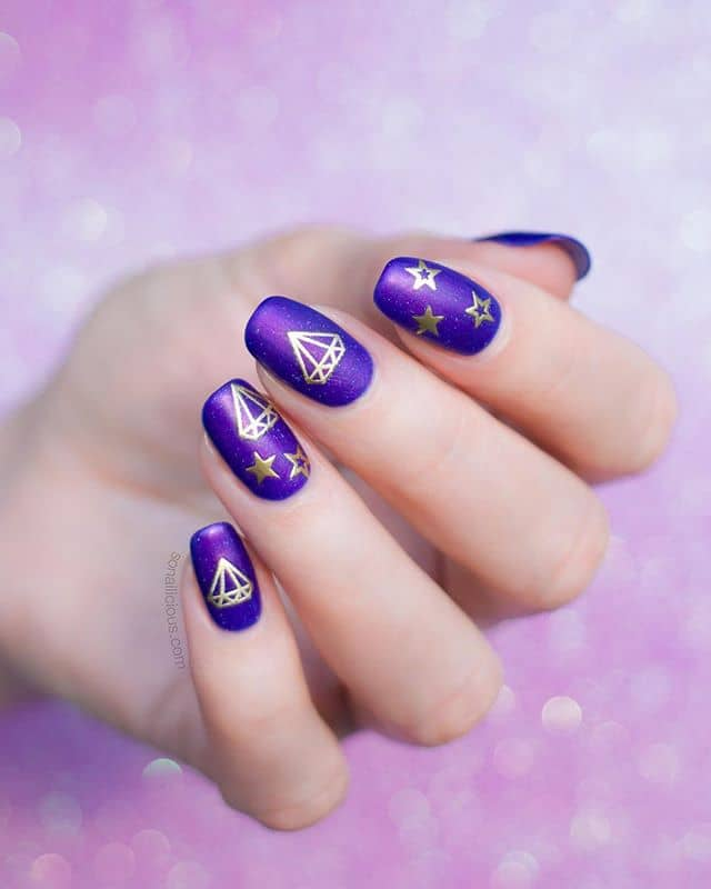 Gold Diamond and Star Purple Nail Designs