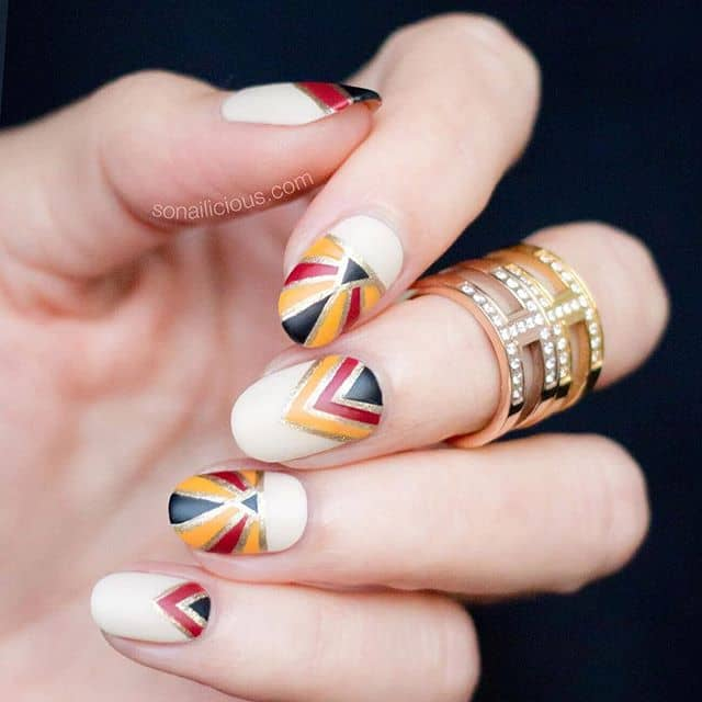 Elegantly Regal Bold Geometric Nail Art