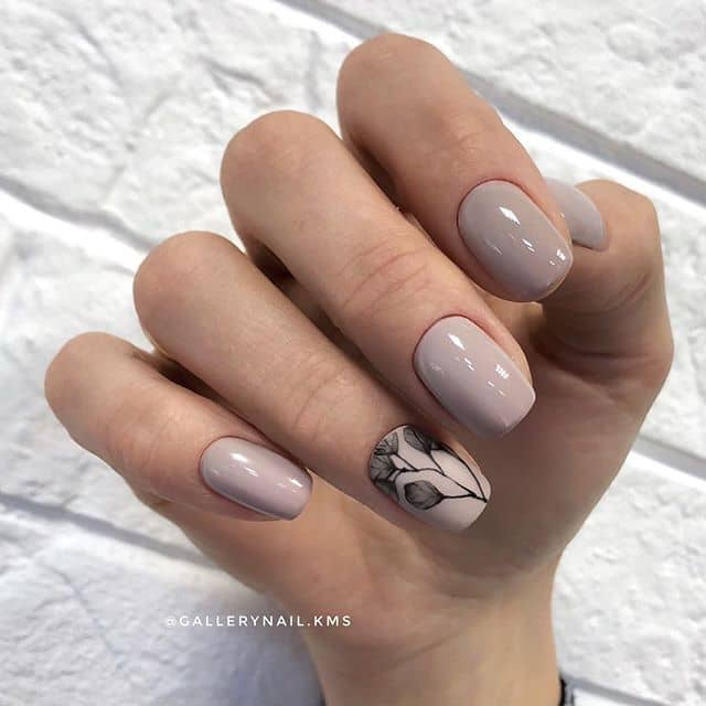 Understated Nude Nails with Black Florals