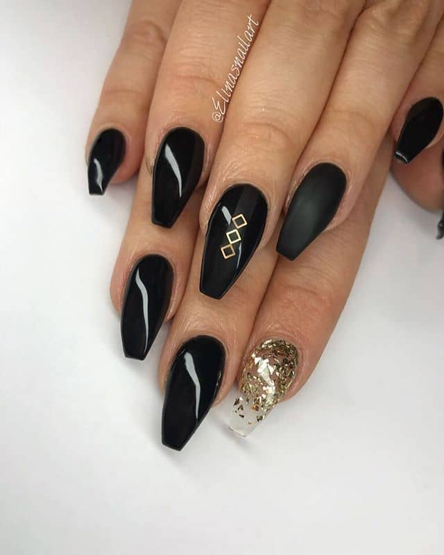 Uniquely Asymmetric Black and Gold Nails