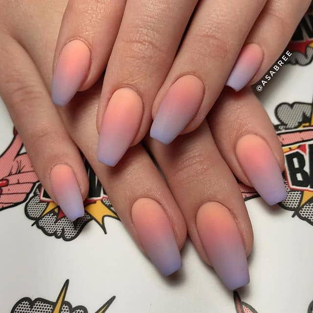 Beautiful Matte Sunset Nail Art
