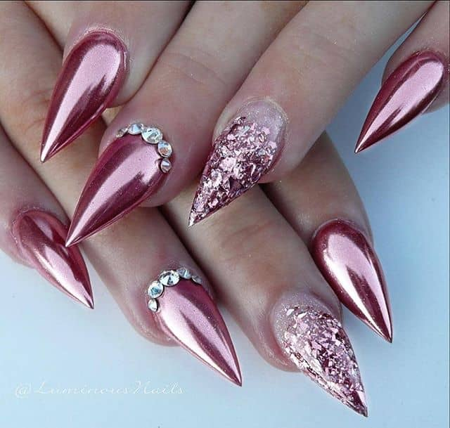 Metallic Rose Gold with Glittery Accents