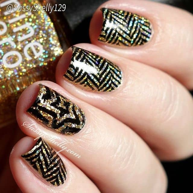 Gatsby Gold and Black Inspo Nails