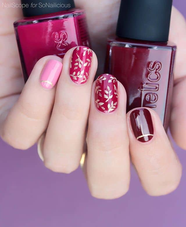 Pretty Tonal Pinks and Red for Short Nails