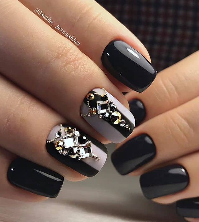 Burnished Black Nails With Jewel Accents