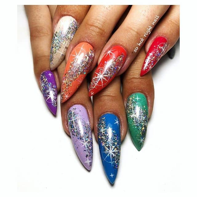 Hot and Cold Nails with Glitter Slicks