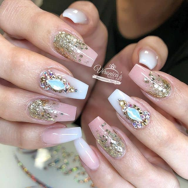 Gems and Glitter on Soft Pink Nails