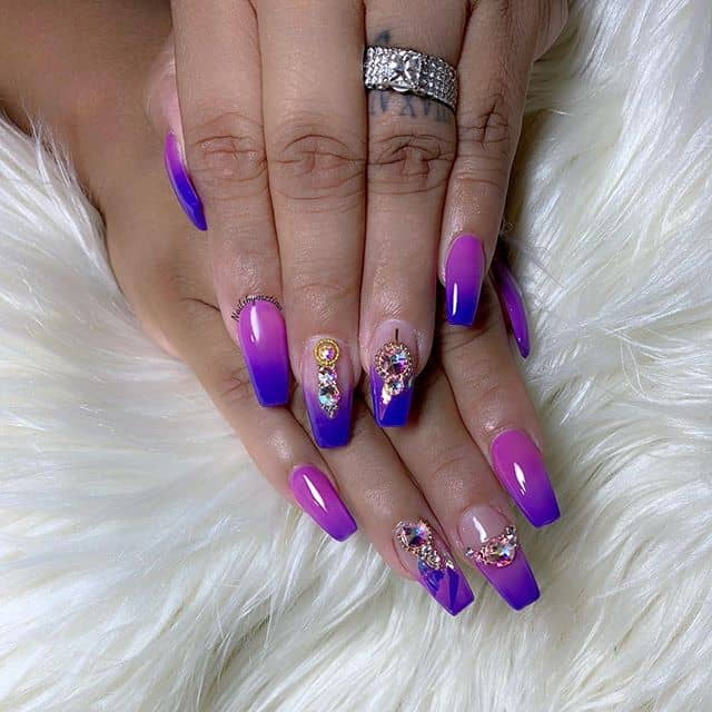 Bejeweled and Ombred Pink and Purple Nails