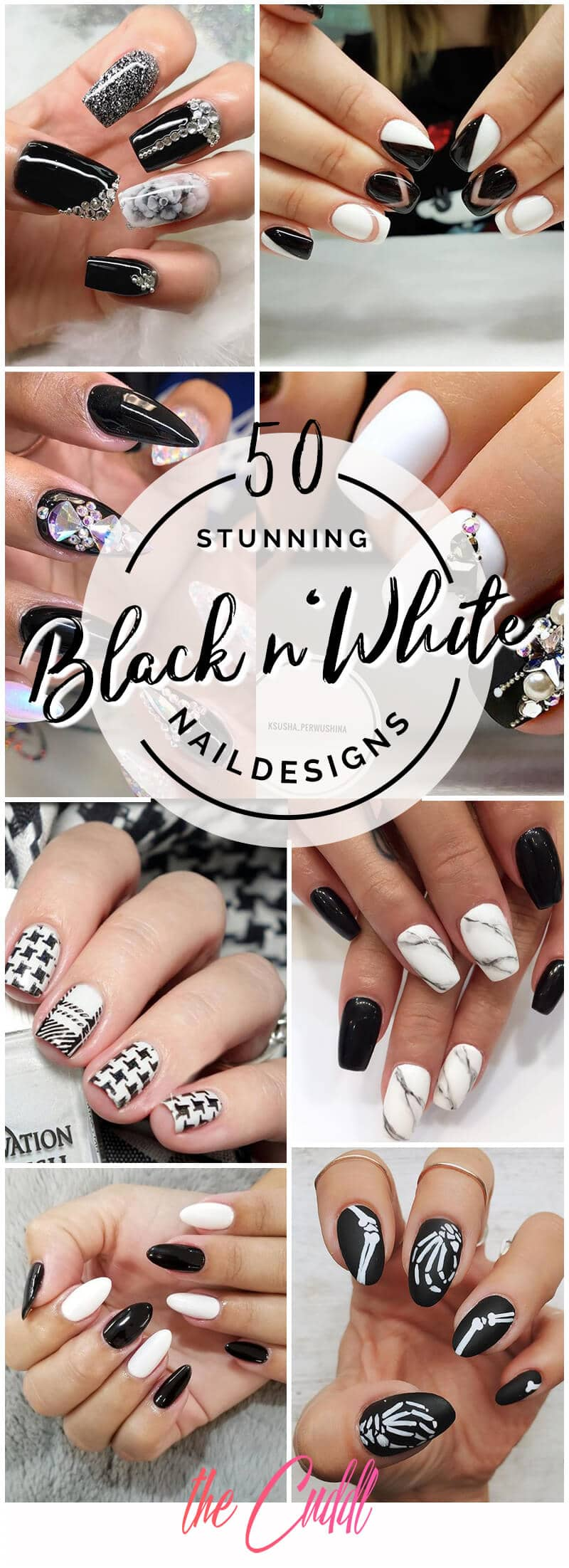 50 Stunning Black and White Nail Designs that Are Easy to Create