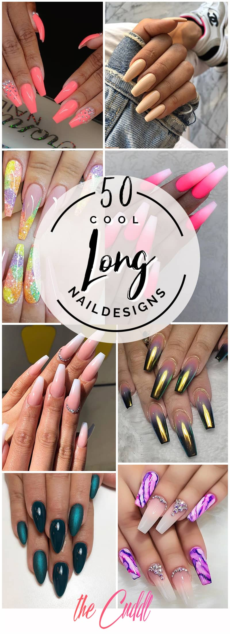 50 Cool Long Nail Designs that Are Easy to Create