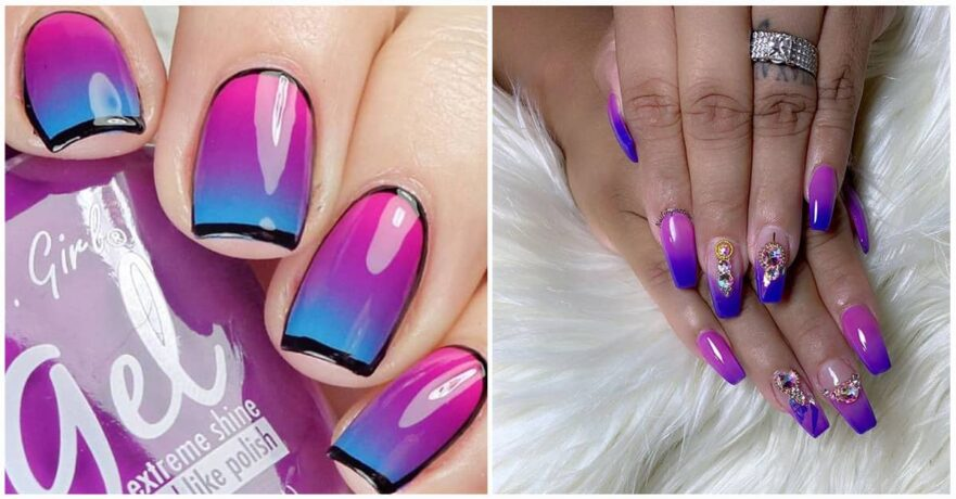 Design options for purple colored nails