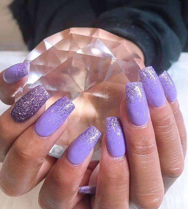 Lavender Glitter Ombre Nail Designs