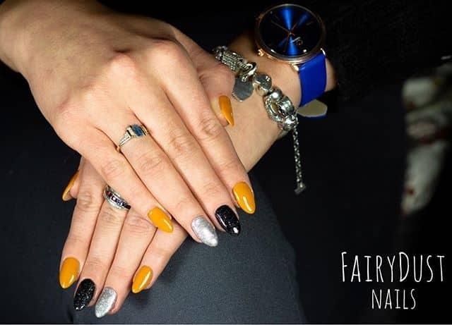 Orange, Black, and Silver Trio with Glitter