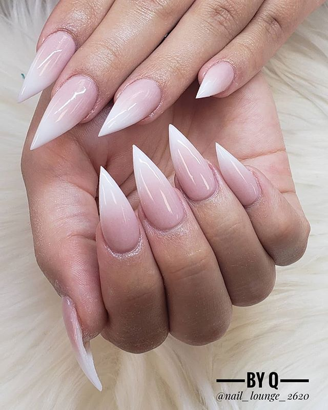Cute Pointed Light Pink Nail Design