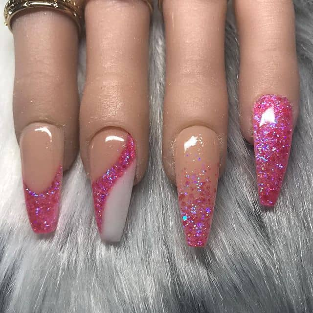 French Tip and Pink Glitter Ombre Nails