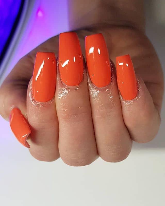 Glossed to the Gods Orange Nails