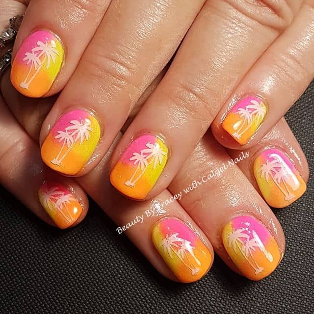Neon Tri-color Nails with Palm Trees