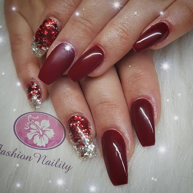 Red and Gold Sparkling Ombre Nails