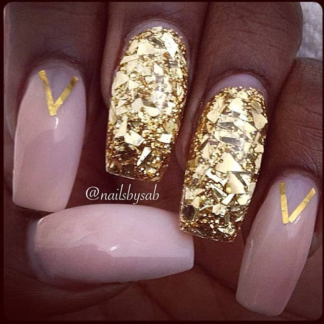 Nude and Gold Flake Make a Great Pair