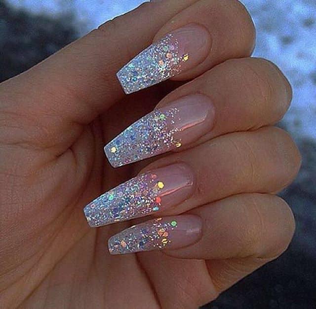 White-Hot Silver Glitter Ombre Nails