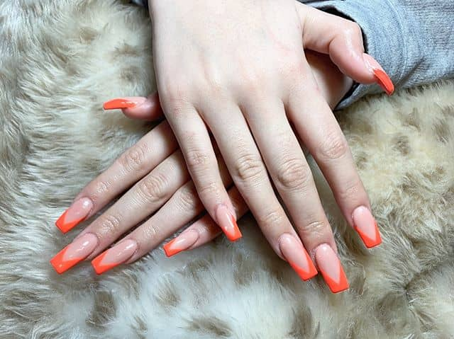 Nude Nails with Updated Orange French Tip