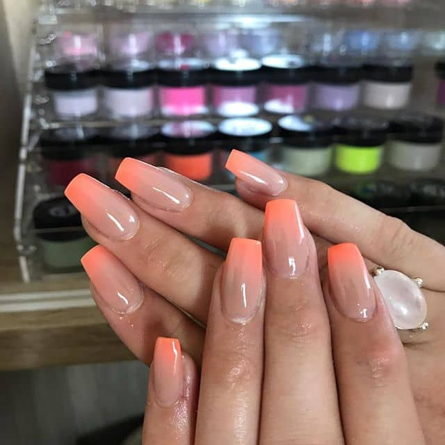 Square-tipped Acrylic Ombre Nails