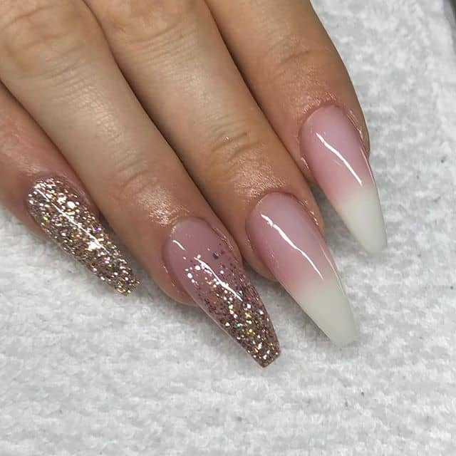 The Best Gold Glitter French Manicure Ombre