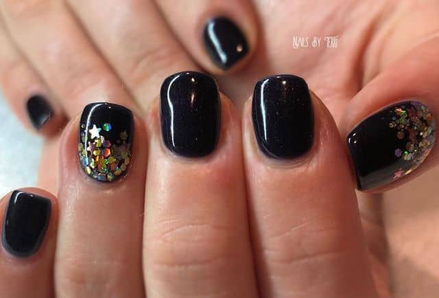 Black with Gold Glitter Ombre Nails