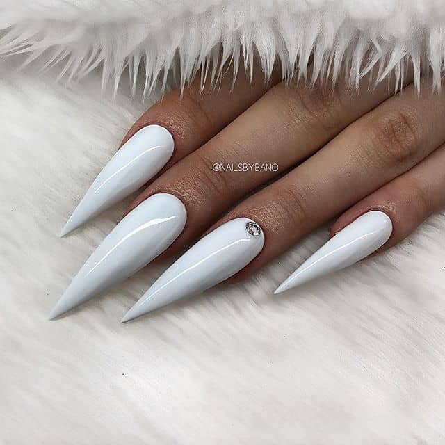 Long and Swan-Like Pointy Acrylic Nails