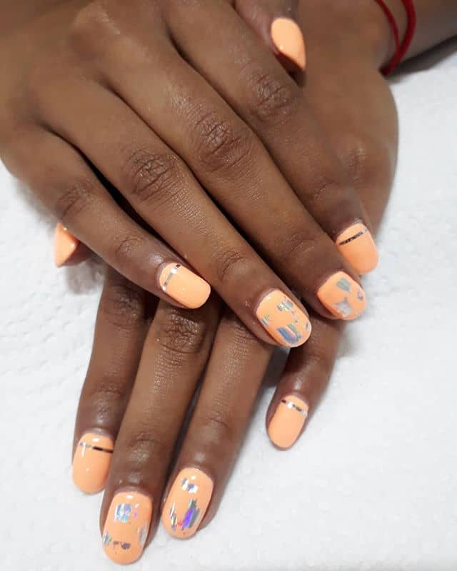 Pastel Orange with Scratched Silver Accents