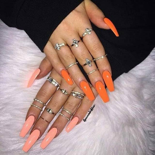 Orange Nails in Two Awesome Tones