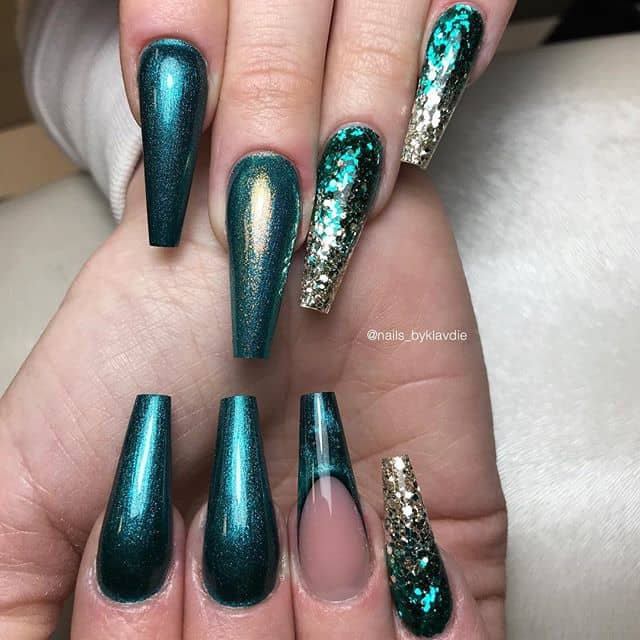 Turquoise Mermaid Tail Glitter Ombre Nails