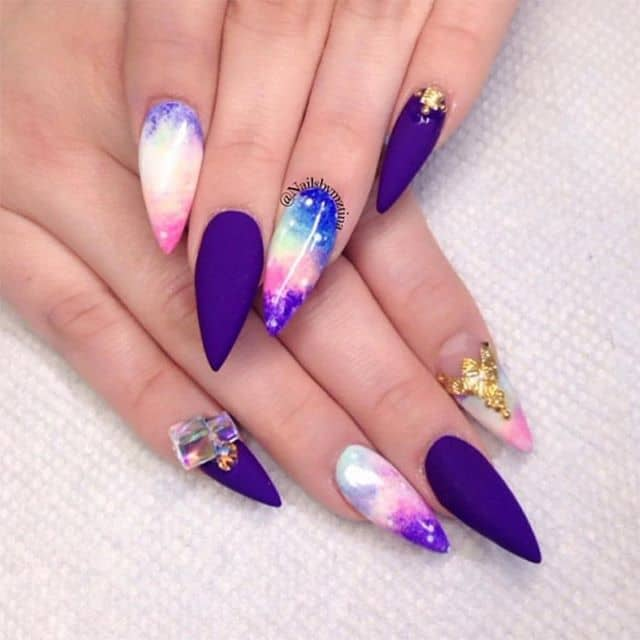 Cute Nails that Look Like the Evening Sky