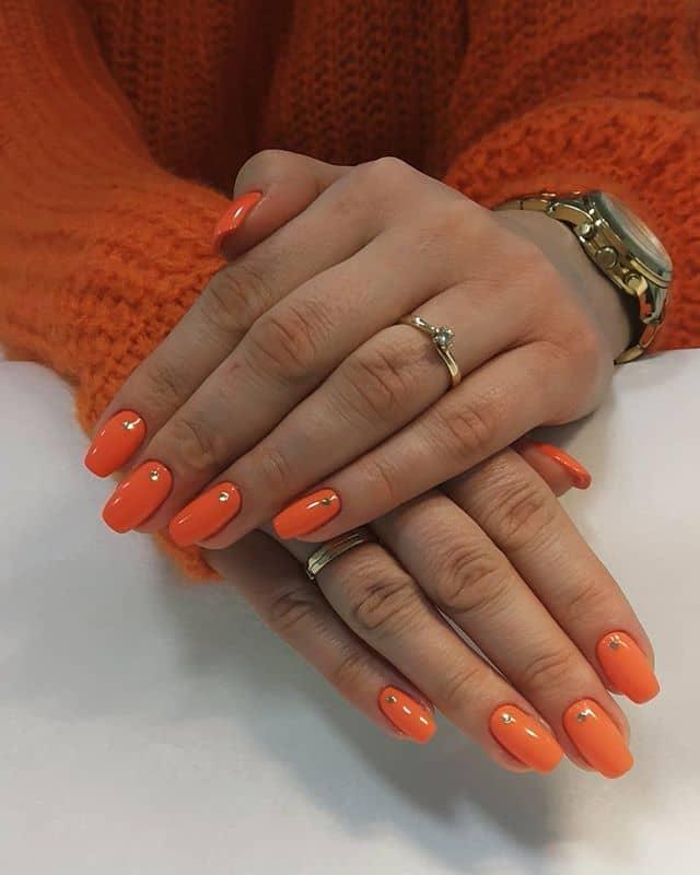 Gold Dotted Orange Gel Polish