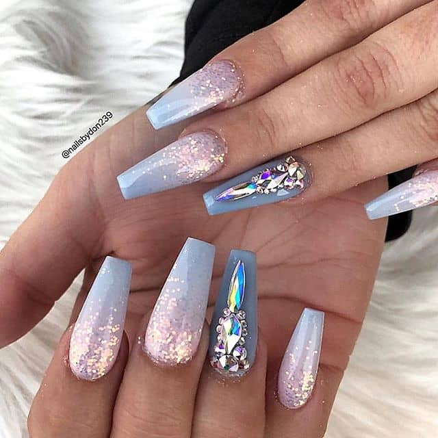 Cool Silver and Lavender Icy Nails